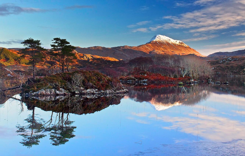 Photo wallpaper sea, the sky, clouds, snow, trees, sunset, mountains, lake, reflection, island, Scotland