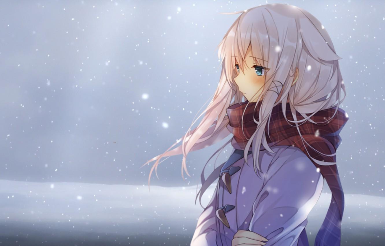 Wallpaper winter girl snow anime scarf art mishima - Winter anime girl wallpaper ...