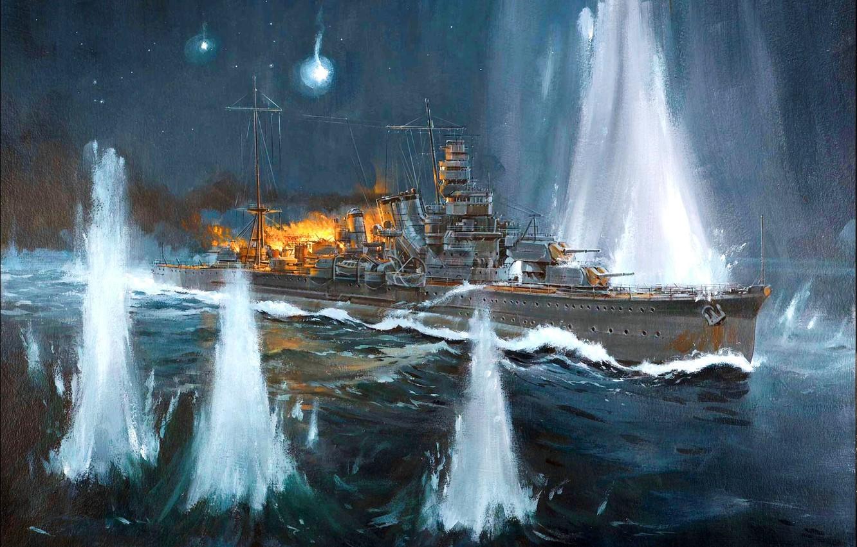 "Photo wallpaper fire, smoke, figure, art, shots, Japanese, sea battle, WW2, ""Furuta a"", new Strait of Georgia …"