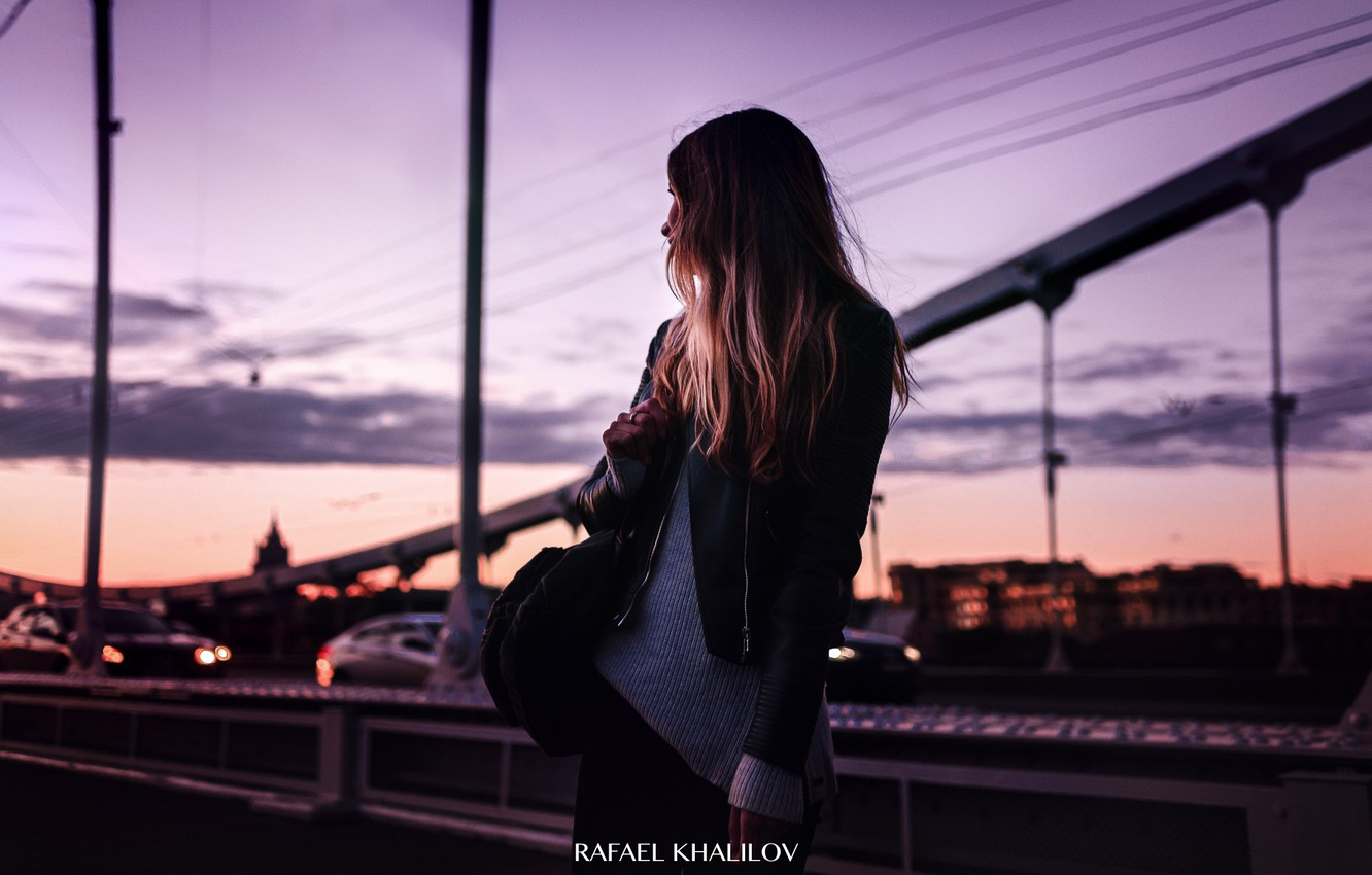 Photo wallpaper the sky, look, girl, sunset, the city, pink, photographer, girl, fashion, sunset, evening, street, saw, …