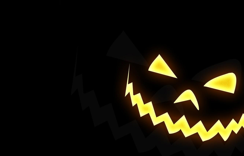 Photo wallpaper smile, Halloween, pumpkin, Halloween, black background