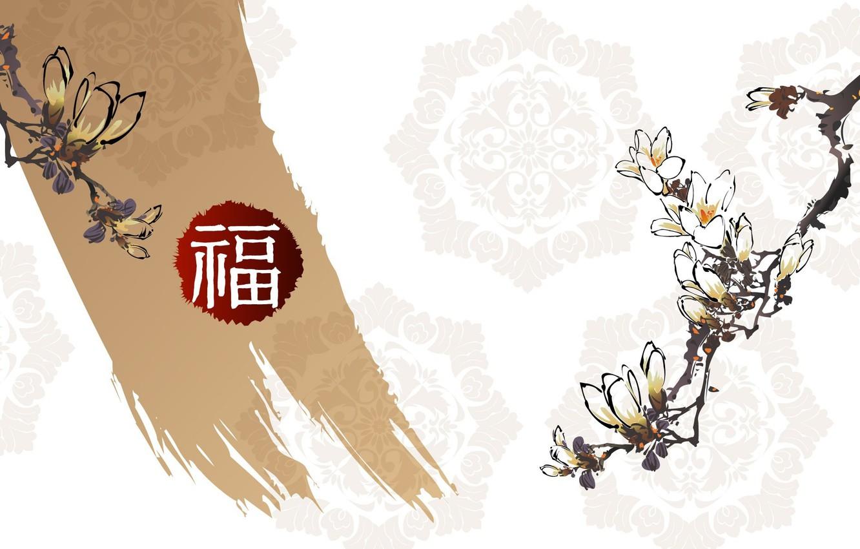 Photo wallpaper flowers, pattern, figure, branch, characters