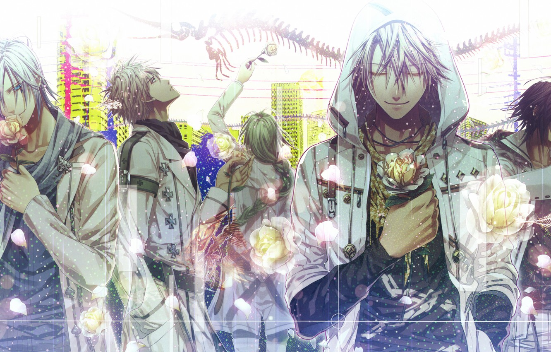 Photo wallpaper flowers, guys, art, Amnesia, Shin, Kent, Toma, Ikki, Hanamura Mai, Ukyo, amnesia