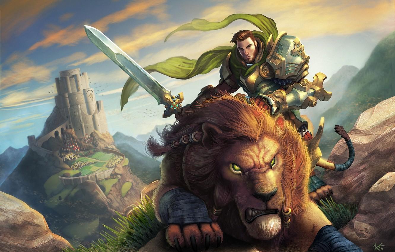 Photo wallpaper mountains, stones, castle, predator, sword, Leo, warrior, art, male, rider, World of Warcraft