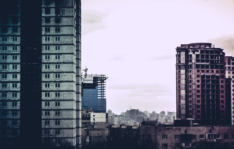 Photo wallpaper sadness, yellow, red, the city, house, capital, Kiev, nedostroyka, nedostroyki