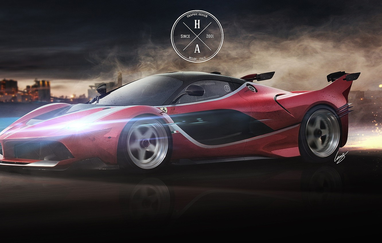 Photo wallpaper Speed, Ferrari, Movement, Sparks, Ferrari, Supercar, The front, FXX K