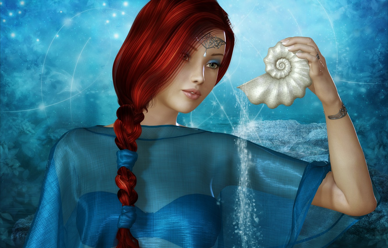Photo wallpaper look, water, girl, decoration, face, background, lights, shell, pigtail, red hair, rendering