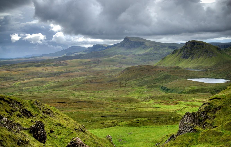 Photo wallpaper Meadows, Mountains, Scotland