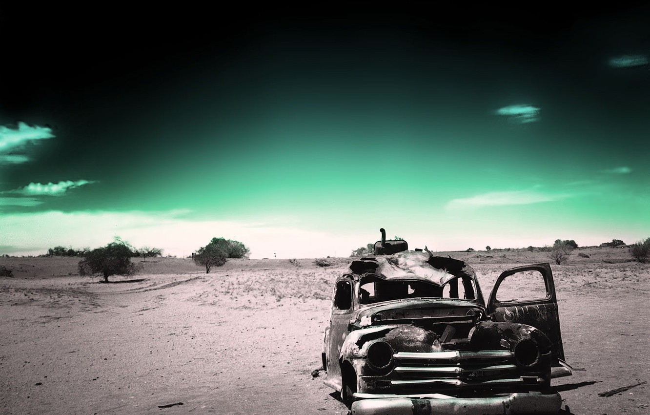 Photo wallpaper old age, machine, time, green, rusty, Saitoti, loneliness, black and white, past, desert, ago, fatigue