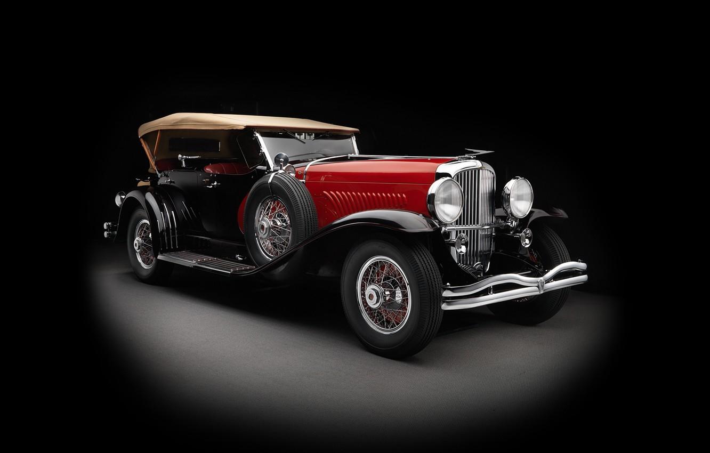 Photo wallpaper coupe, black background, Coupe, Convertible, 1930, Duesenberg, dusenberg, convertible top