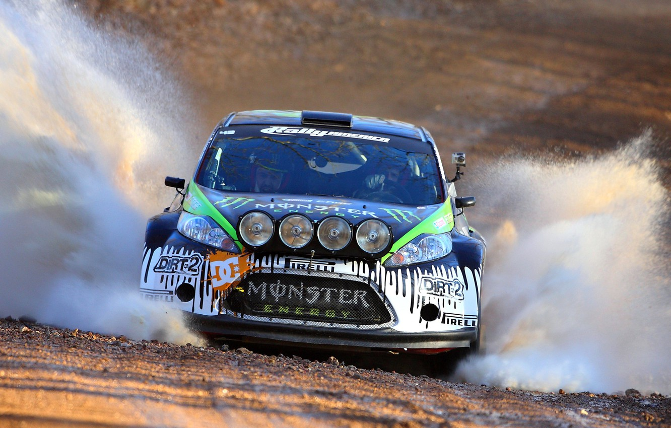 Photo wallpaper Ford, Auto, Sport, Ford, Squirt, Lights, WRC, Ken Block, Rally, Rally, Fiesta, The front