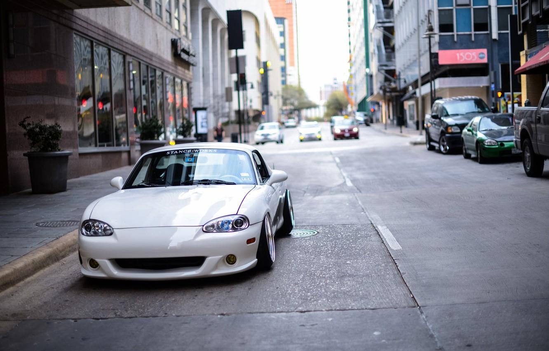 Photo wallpaper white, Mazda, drives, Miata, BBS, stance, tunig