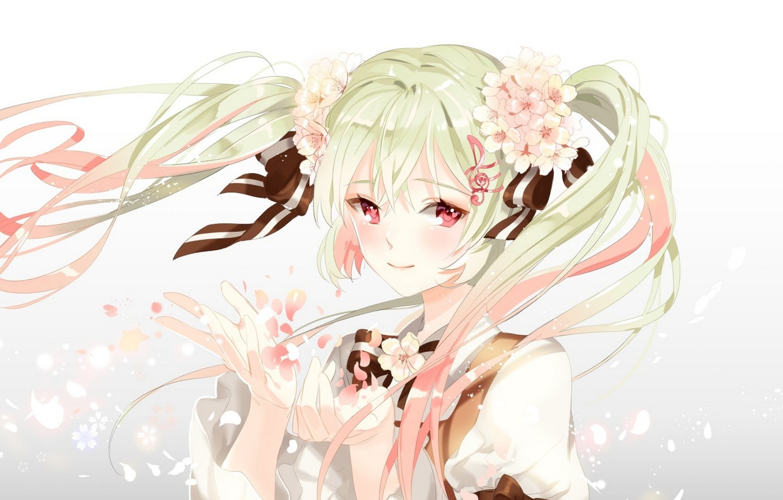 Photo wallpaper girl, flowers, smile, anime, petals, art, vocaloid, sakura, mike, platina77