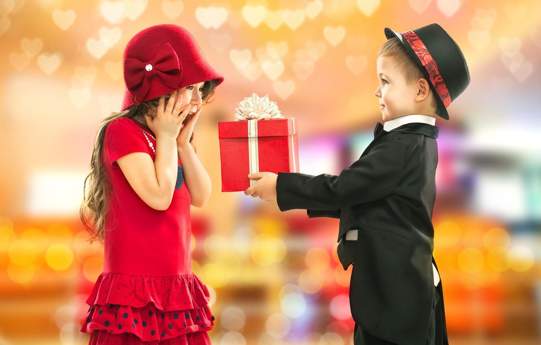 Photo wallpaper children, birthday, gift, boy, girl, gentleman, Little lady