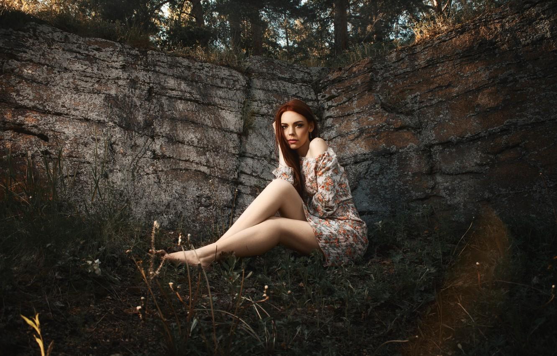 Photo wallpaper forest, grass, girl, the sun, light, trees, nature, pose, rock, glare, stones, sweetheart, model, portrait, …