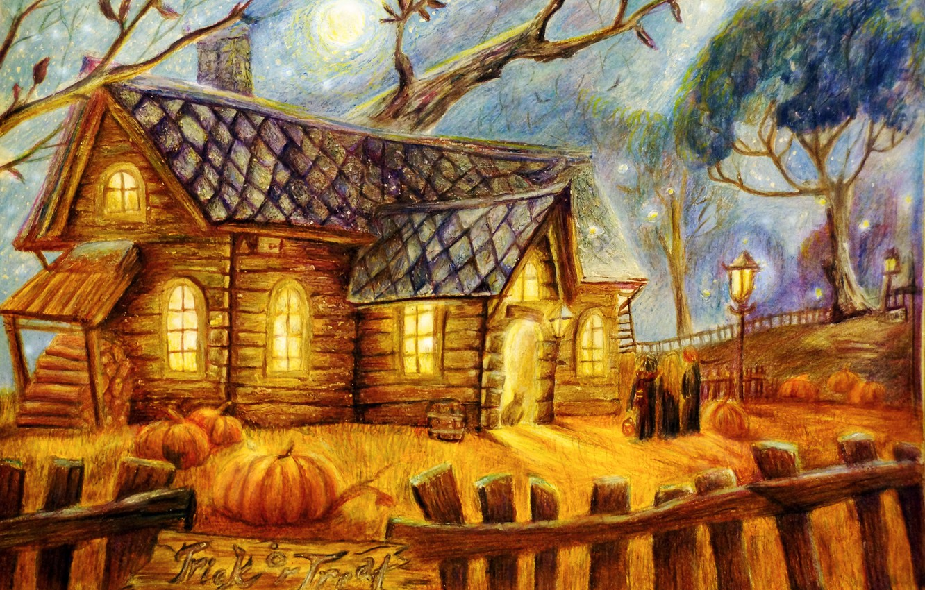 Photo wallpaper trees, house, people, the moon, the fence, lights, pumpkin, Halloween, halloween