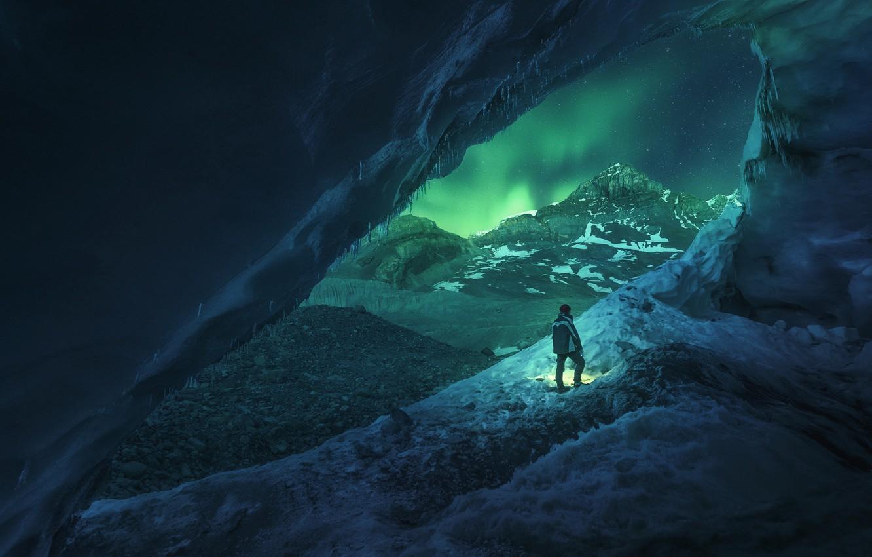 Photo wallpaper Light, Frozen, Canada, Blue, Winter, Night, Snow, Travel, Cave, Door, Athabasca