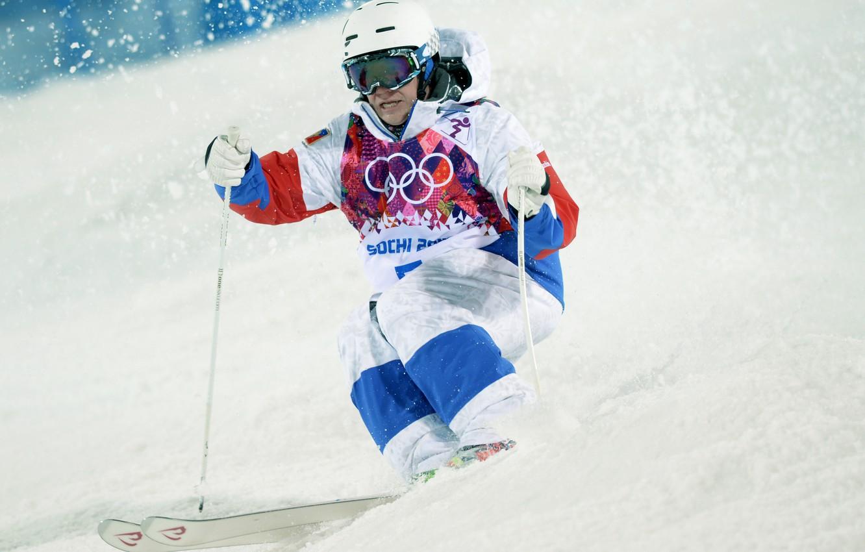 Photo wallpaper snow, Olympics, Russia, Sochi, 2014, Alexander Smyshlyaev, freestyle Mogul