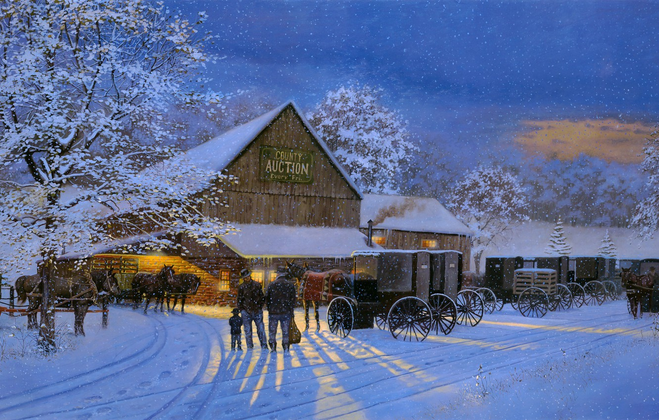 Photo wallpaper winter, snow, horses, the evening, painting, carts, Dave Barnhouse, The Gathering Place, County Auction, auction