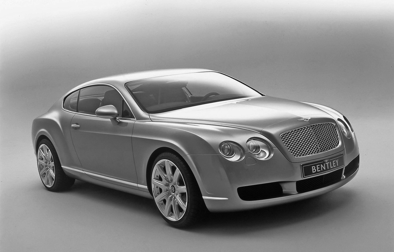 Photo wallpaper auto, Bentley, Continental, B/W