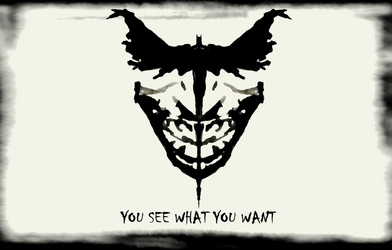 Photo wallpaper batman white black joker you see what