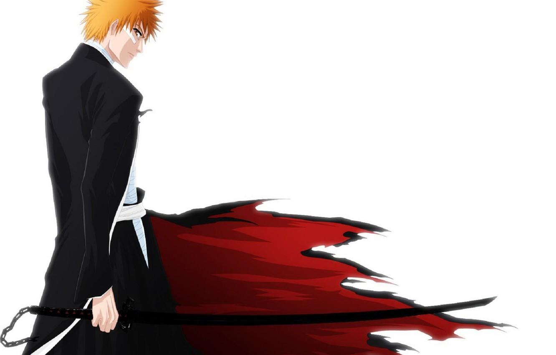 Photo wallpaper Anime, Bleach, Bleach, Ichigo Kurosaki, Kurosaki Ichigo, Bankai, White background.