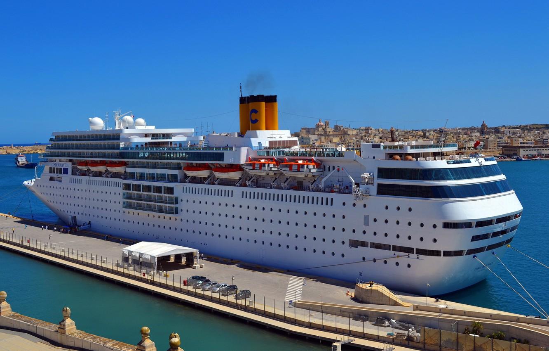 Photo wallpaper photo, ship, pier, pierce, cruise liner, Costa neo-romantic