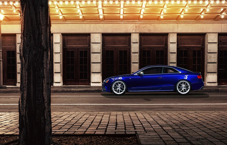 Photo wallpaper night, blue, the city, Audi, Audi, profile, blue, coupe