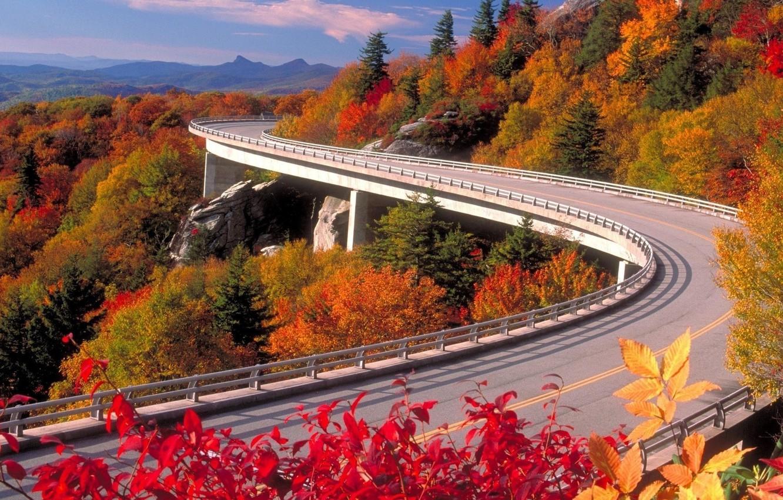 Photo wallpaper road, autumn, the sky, mountains, nature