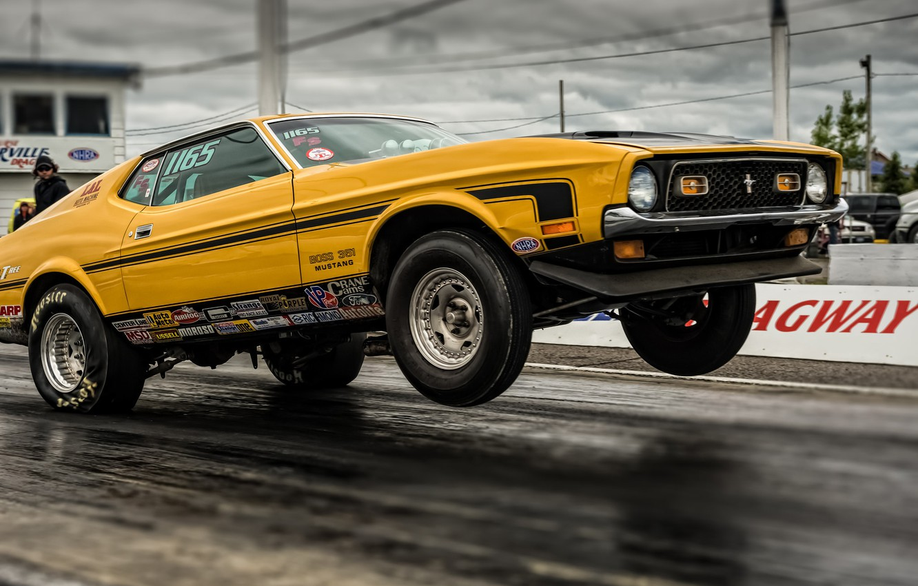 Photo wallpaper race, Mustang, Ford, Ford, Mustang, Muscle car, drag racing