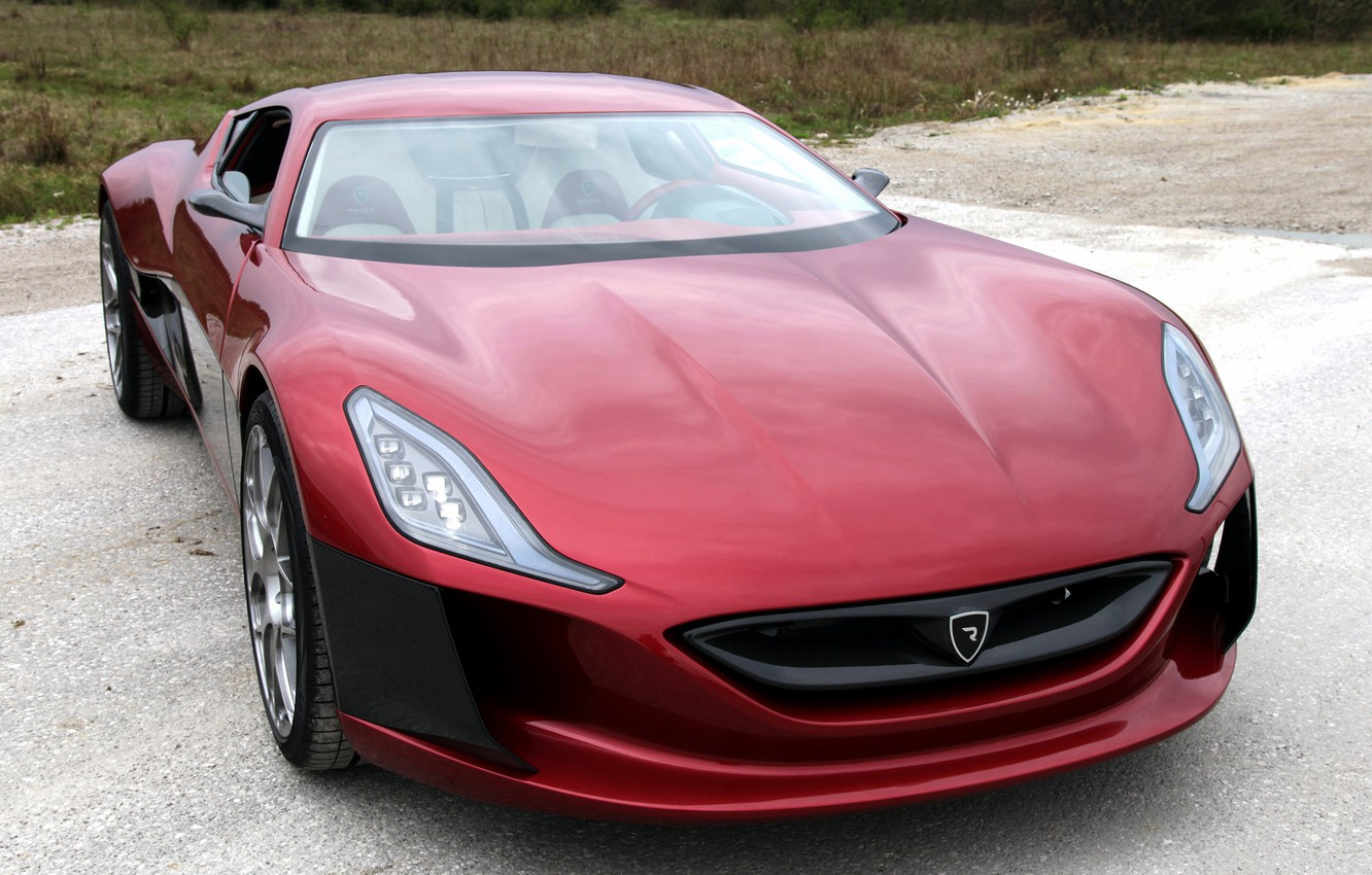 Photo wallpaper machine, red, color, Machine, Concept One, Rimac, on the road