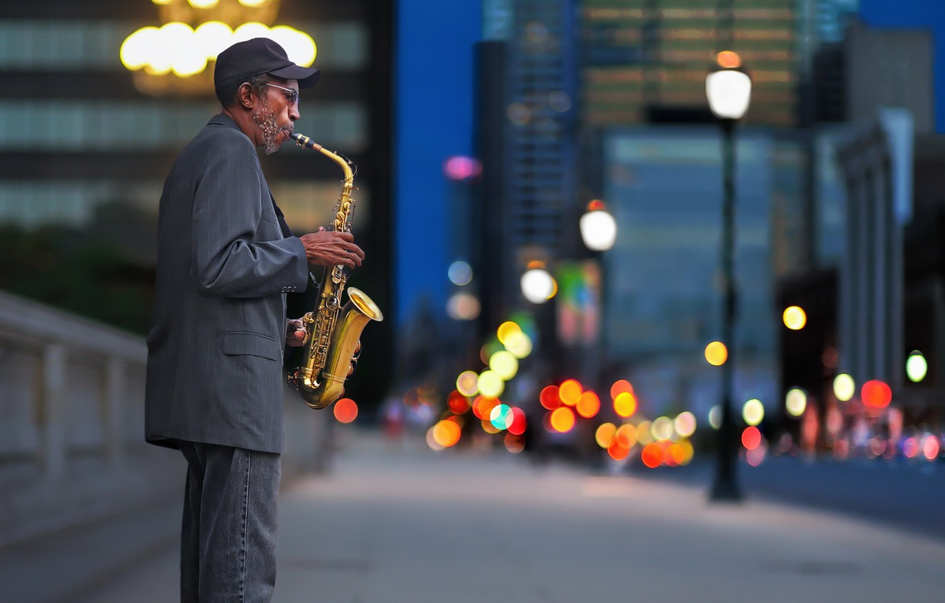 Photo wallpaper street, people, saxophone