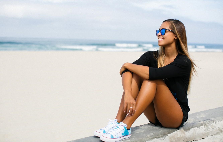 Photo wallpaper girl, pose, glasses, sitting