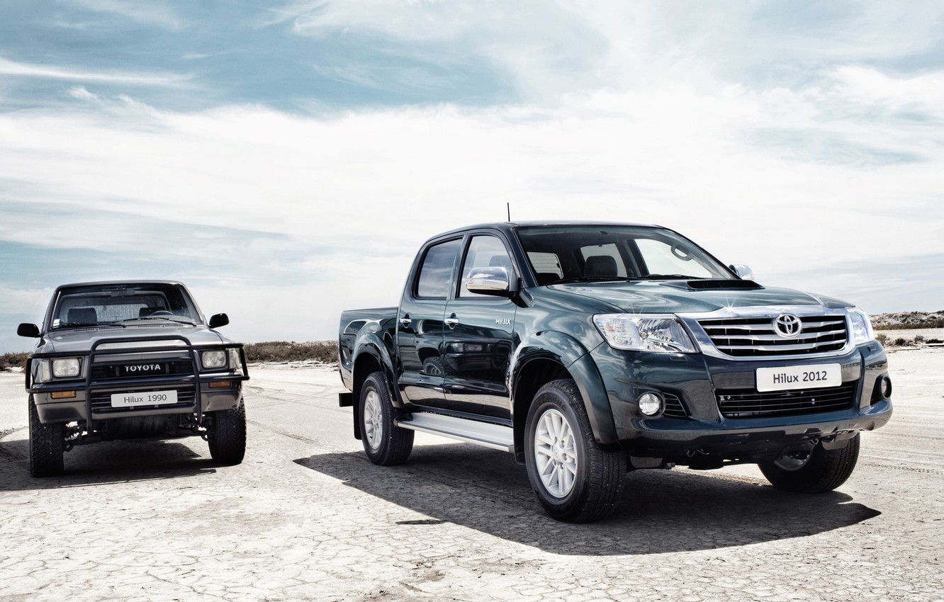 Photo wallpaper pickup, toyota, Toyota, Hilux, old and new, hilux