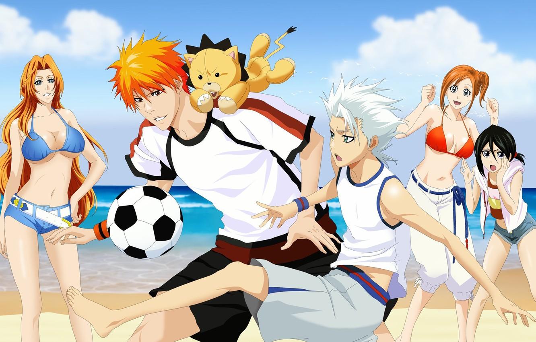 Photo wallpaper sea, beach, swimsuit, girls, football, the game, the ball, art, guys, bleach, Kurosaki Ichigo, inoue …