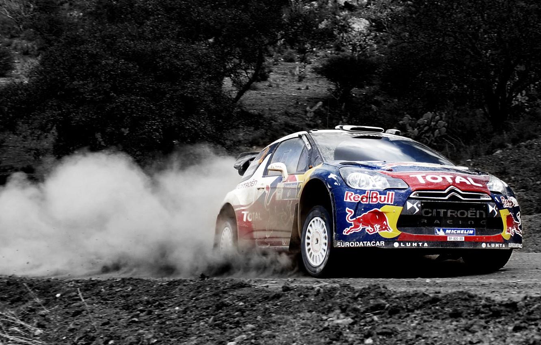 Photo wallpaper Dust, Sport, Machine, Speed, Citroen, Citroen, Red Bull, DS3, WRC, Rally, Rally