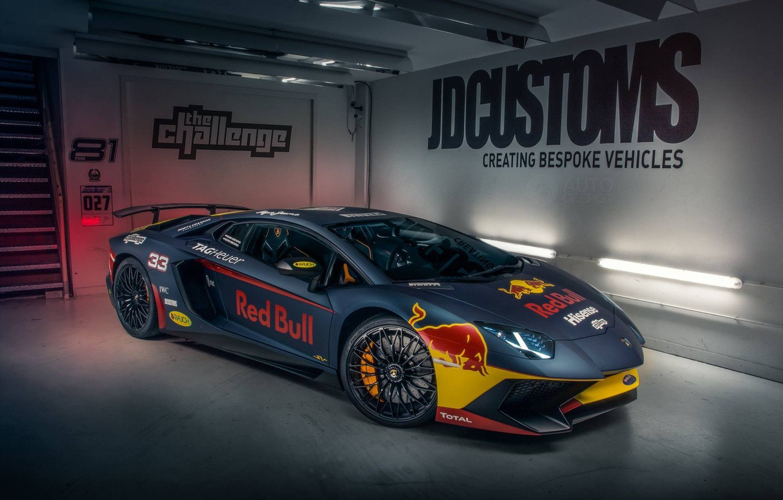 Photo wallpaper Lamborghini, Red Bull, Aventador, Superveloce