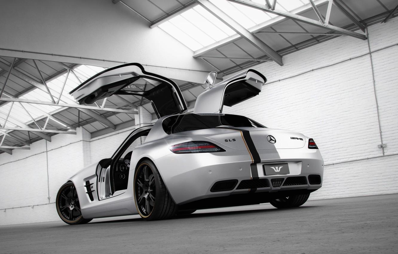 Photo wallpaper tuning, Mercedes-Benz, door, silver, hangar, supercar, Mercedes, rear view, AMG, SLS, tuning, Wheelsandmore, AMG, SLS, …