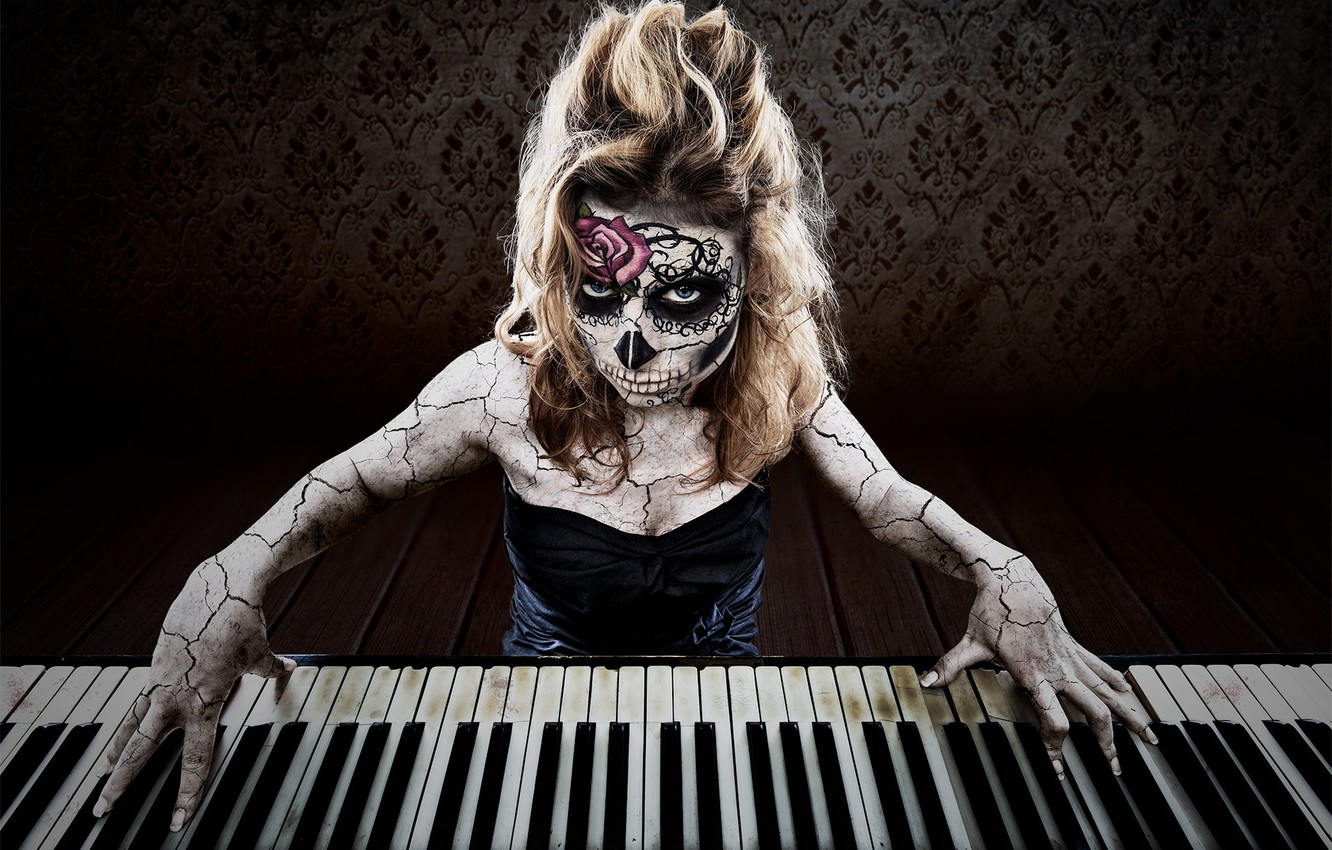 Photo wallpaper creative, keys, Day of the Dead, concert in day of the dead, music of death