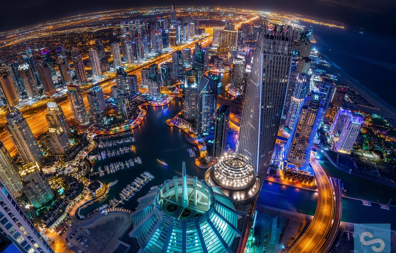 Photo wallpaper night, the city, lights, the evening, Dubai, UAE, Dubai Marina
