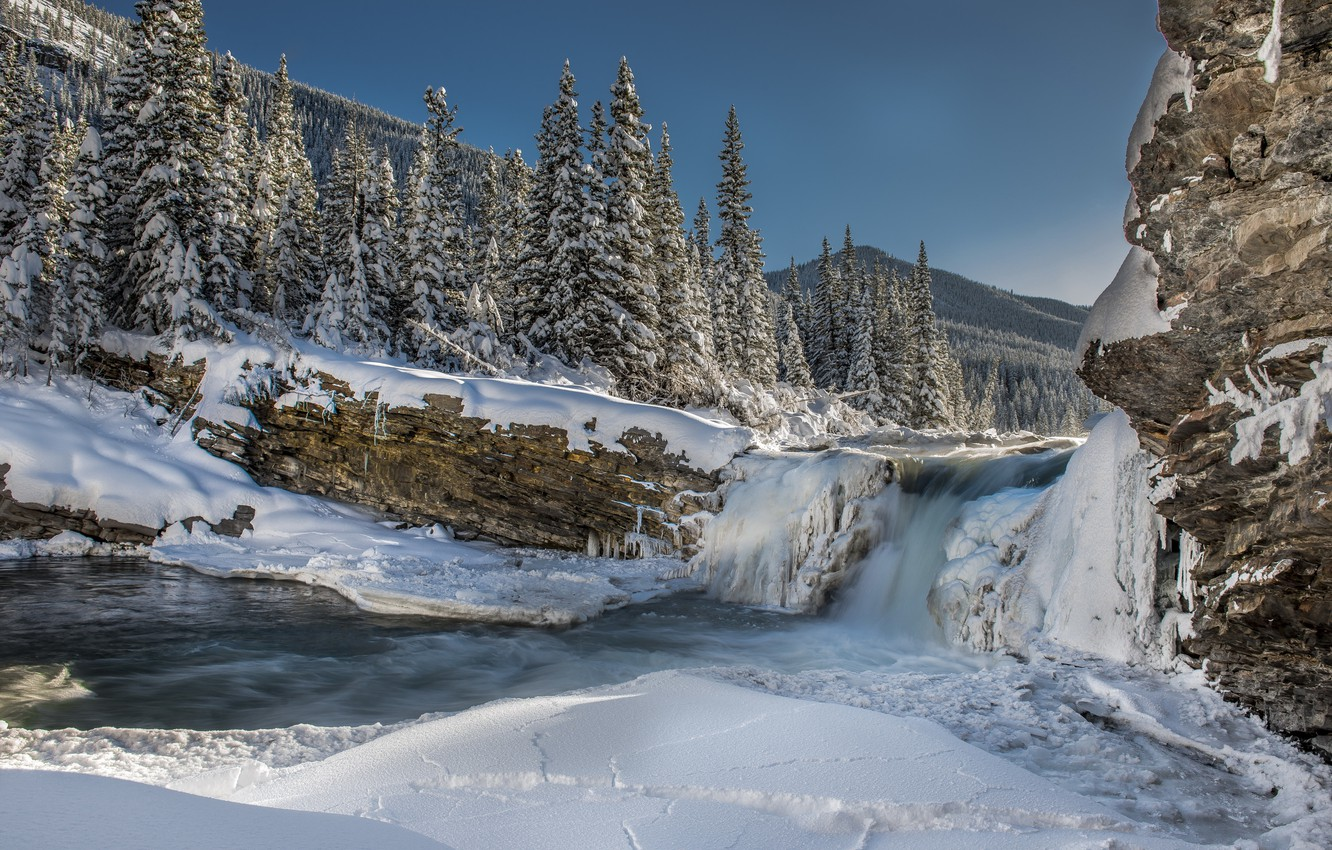 Photo wallpaper ice, winter, forest, snow, mountains, river, tree, waterfall