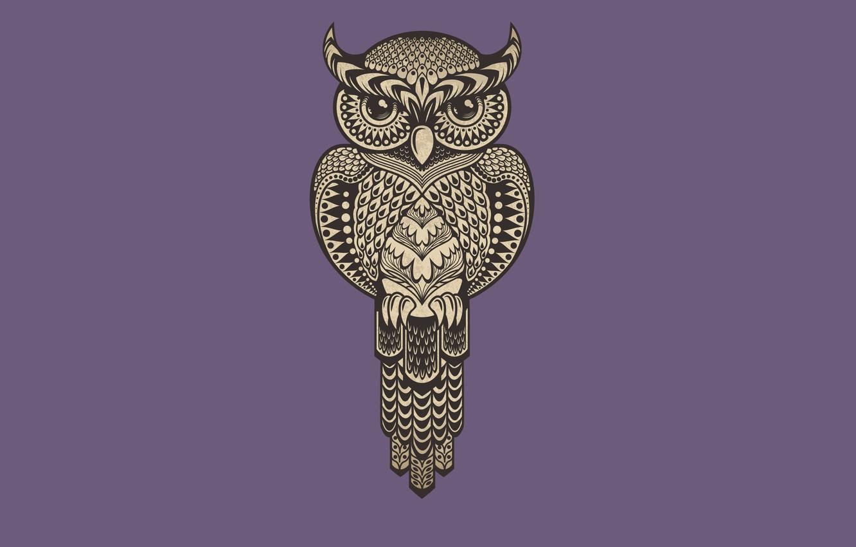 Photo wallpaper purple, owl, bird, minimalism, owl