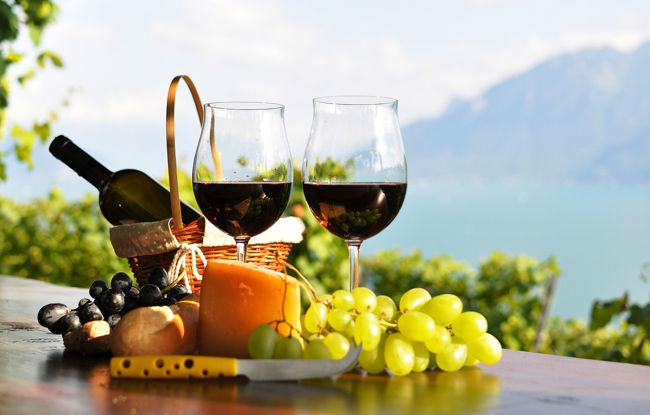 Photo wallpaper table, wine, red, basket, bottle, cheese, glasses, bread, grapes, the vineyards