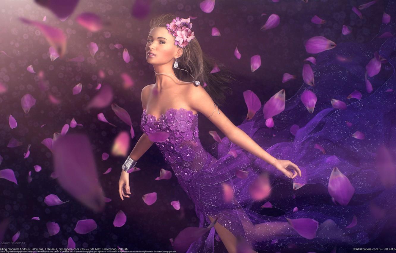 Photo wallpaper girl, decoration, flowers, petals, dress, art, andrius balciunas