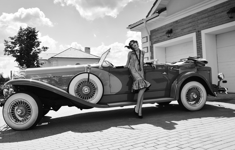 Photo wallpaper girl, retro, car, classic