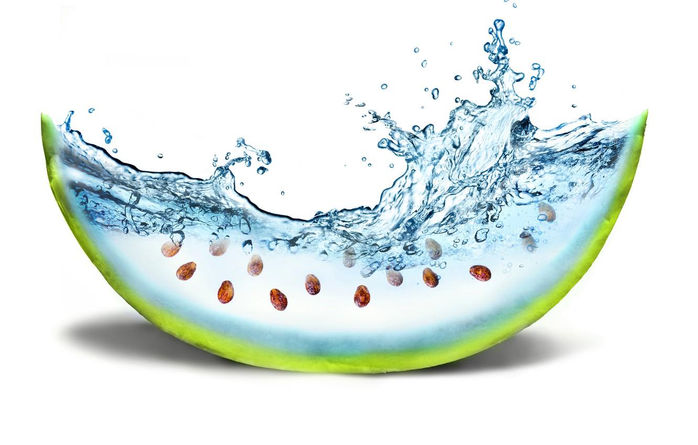 Photo wallpaper water, creative, watermelon, bone