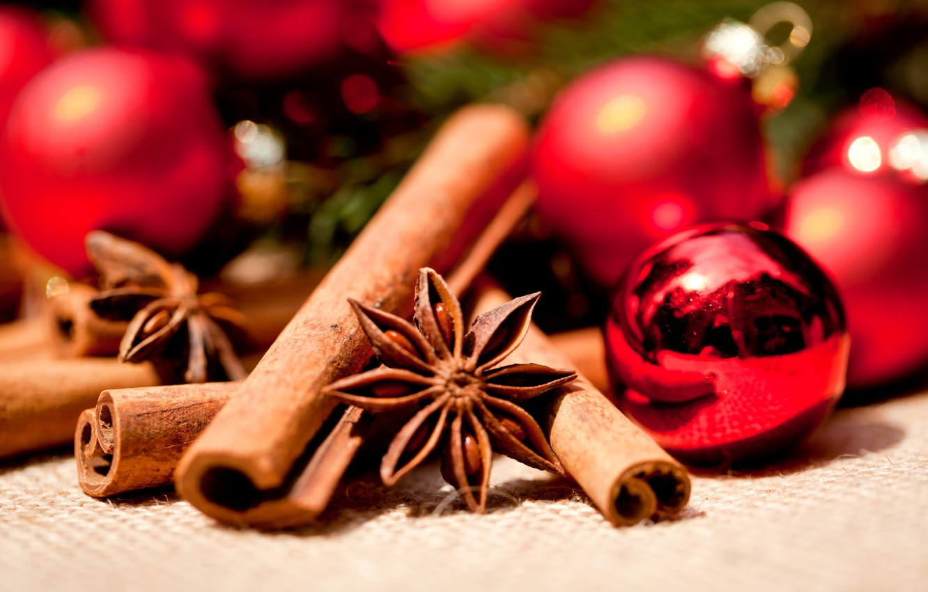 Photo wallpaper winter, balls, toys, sticks, New Year, Christmas, red, cinnamon, Christmas, stars, holidays, New Year, spices, …
