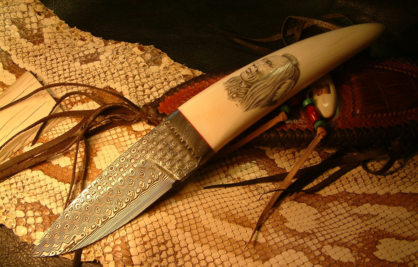 Photo wallpaper leather, knife, snakes, Indian, edged weapons