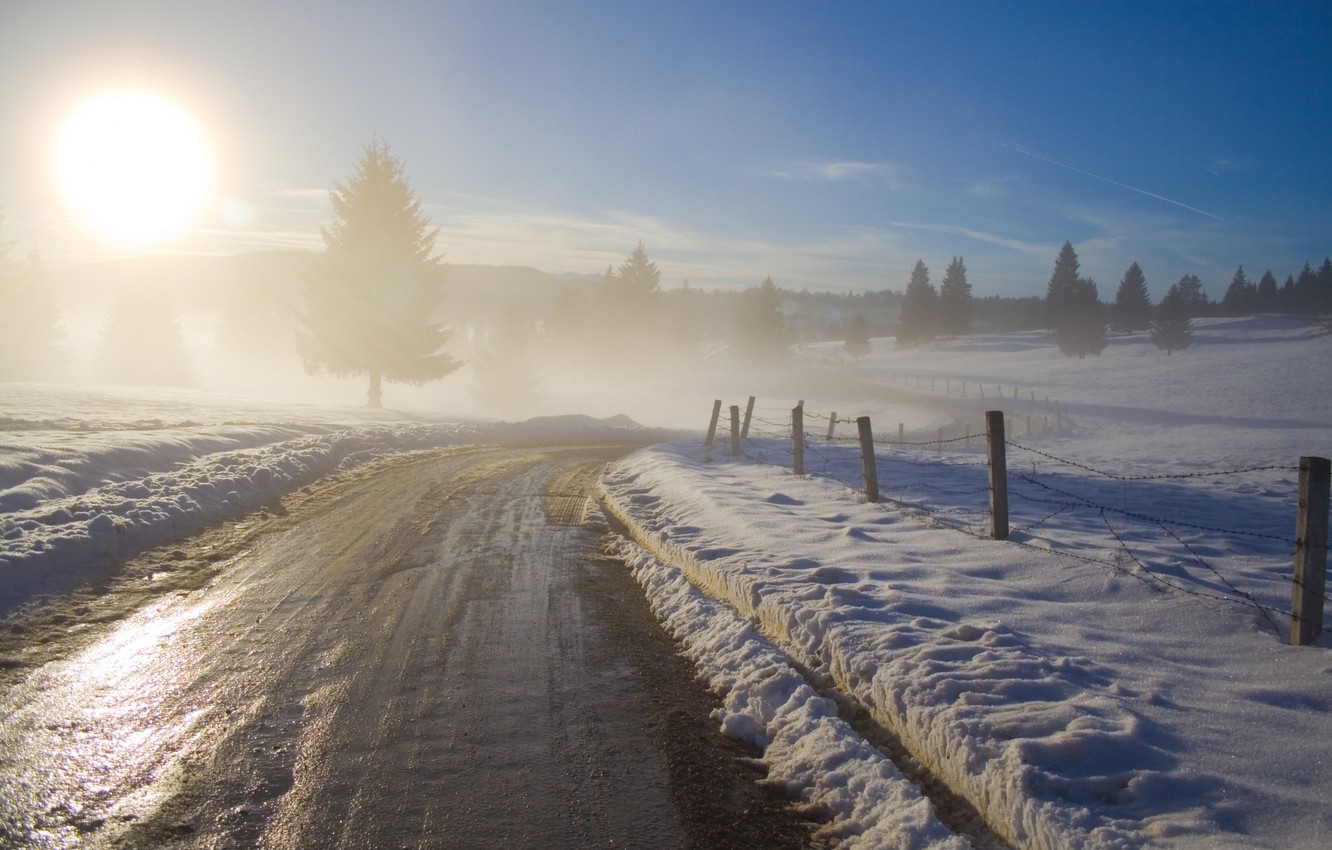 Photo wallpaper road, the sky, the sun, trees, nature, tree, dawn, road, morning, haze, fences, winter photography …