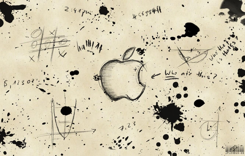 Photo wallpaper labels, apple, blots, drawings